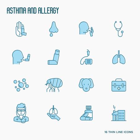 Iconos de línea fina de asma y alergia con síntomas de alergia y los alérgenos más comunes. Inhalador de asma. Ilustración vectorial