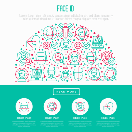 Face ID concept in half circle with thin line icons: face recognition, scanning, mobile authentication, approved, disapproved, face detect. Modern vector illustration, template for web page.