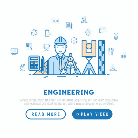Engineer at work concept with thin line icons: electronics, calculations, tools, repair, idea, it server. Modern vector illustration, web page template. Illustration