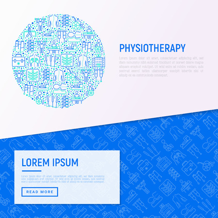 Physiotherapy concept in circle with thin line icons: rehabilitation, physiotherapist, acupuncture, massage, gymnastics, go-carts, vertebrae, wheelchair. Vector illustration, web page template.