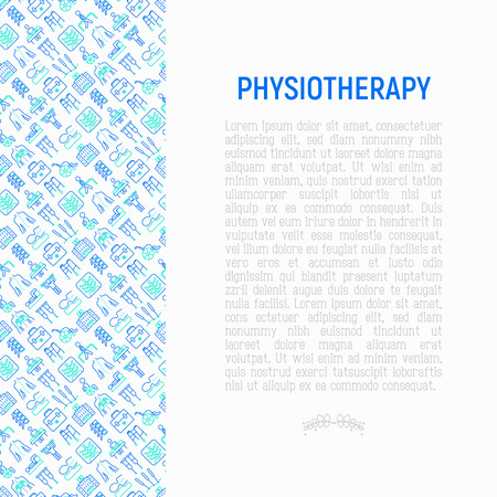 Physiotherapy concept with thin line icons: rehabilitation, physiotherapist, acupuncture, massage, gymnastics, go-carts, vertebrae; x-ray, trauma, crutches. Vector illustration, web page template.