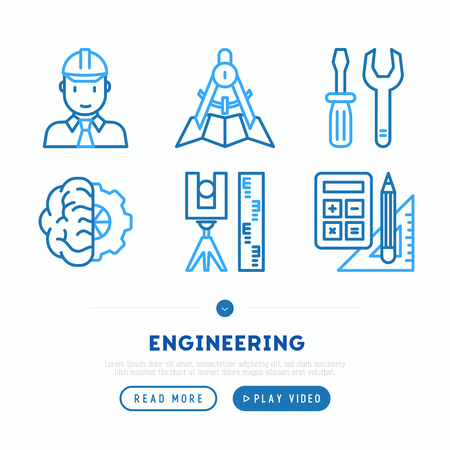 Engineering thin line icons set: engineer, electronics, calculations, tools, repair, idea, it server. Modern vector illustration, web page template.