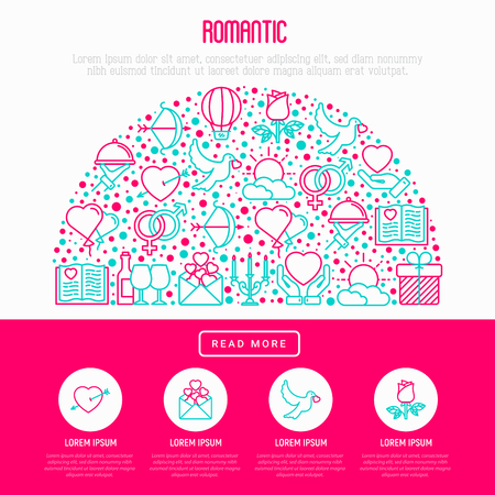 Romantic concept in half circle with thin line icons, related to dating, honeymoon, Valentines day. Modern vector illustration, web page template about Valentines day.