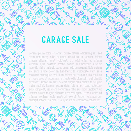 Garage sale concept with thin line icons: signboard, globe, telescope,guitar, rollers, armchair, toolbox, soccer ball. Modern vector illustration for banner, print media, web page.  イラスト・ベクター素材