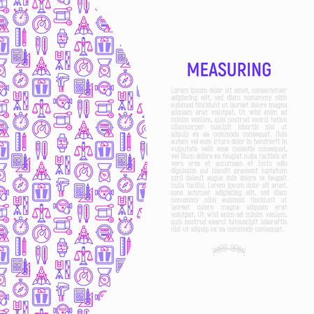 Concepto de medición con iconos de líneas finas: cronómetro, escalas de peso, velocímetro, reloj inteligente, escalas de latón, termómetro. Ilustración de vector moderno para página web, banner, medios impresos.