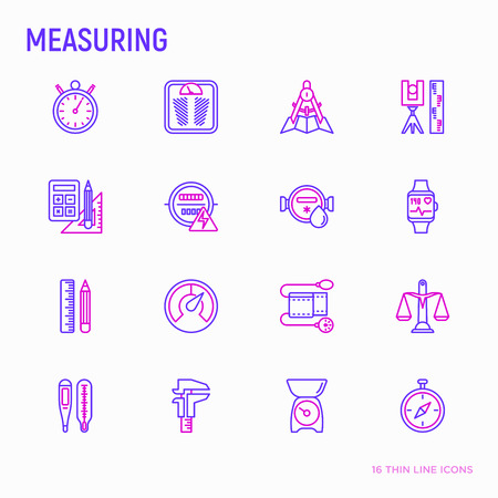 Measuring thin line icons set: stopwatch, weight scales, speedometer, smart watch, brass scales, thermometer. Modern vector illustration.