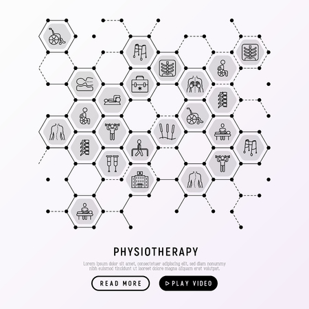 Physiotherapy concept in honeycombs with thin line icons: rehabilitation, physiotherapist, acupuncture, massage, go-carts, x-ray, trauma, crutches, wheelchair. Vector illustration, web page template.