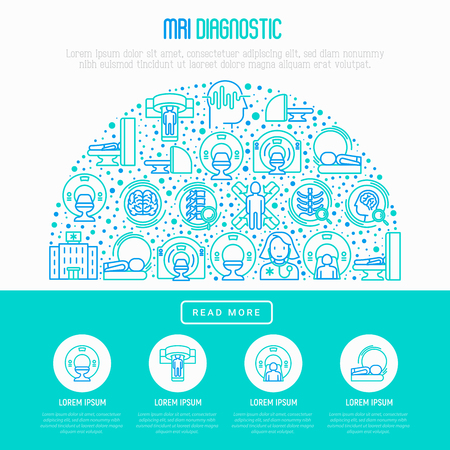 MRI diagnostics concept in half circle with thin line icons. Modern vector illustration of laboratory equipment for web page template, print media, banner.