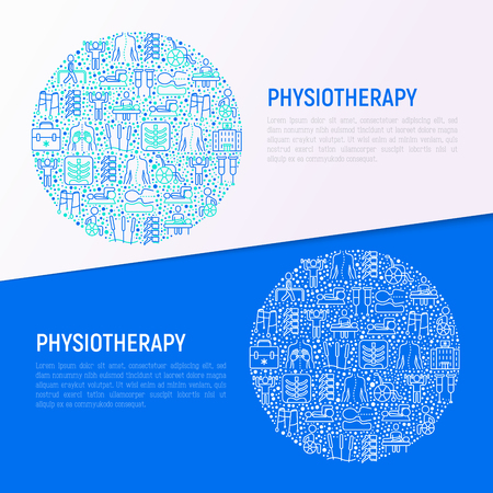 Physiotherapy concept in circle with thin line icons: rehabilitation, physiotherapist, acupuncture, massage, gymnastics, go-carts, crutches, wheelchair. Vector illustration, web page template. Vettoriali