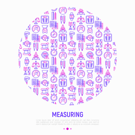 Measuring concept in circle with thin line icons: stopwatch, weight scales, speedometer, smart watch, brass scales, thermometer. Modern vector illustration for web page, banner, print media.