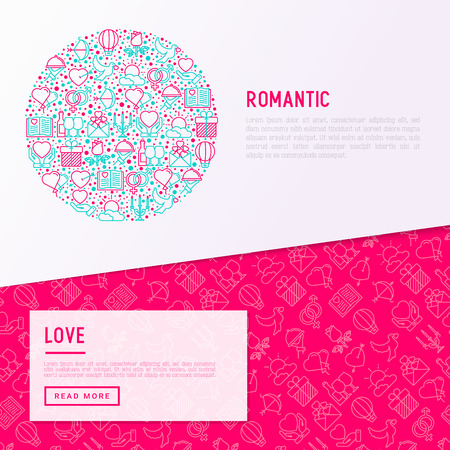 Romantic concept in circle with thin line icons, related to dating, honeymoon, Valentine's day. Modern vector illustration, web page template about Valentine's day.  イラスト・ベクター素材