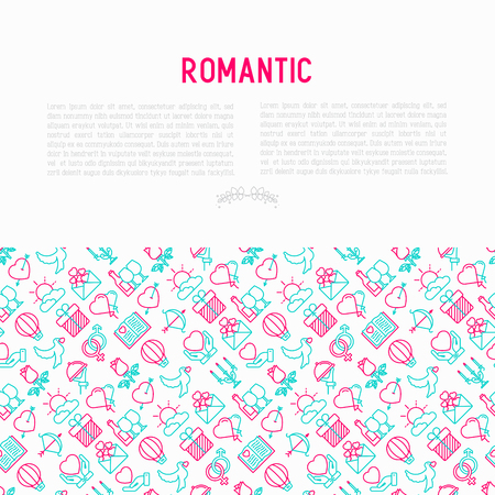 Romantic concept with thin line icons, related to dating, honeymoon, Valentines day. Modern vector illustration, web page template.