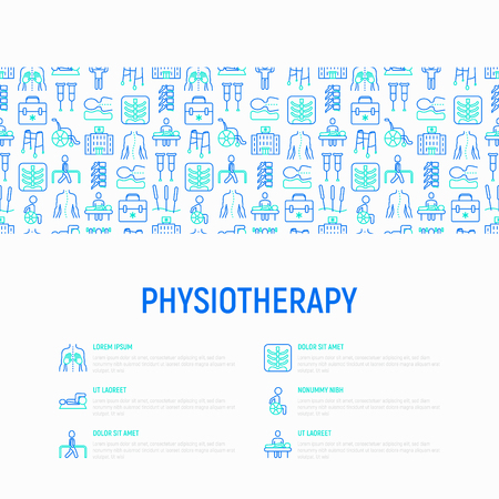 Concepto de fisioterapia con iconos de líneas finas: rehabilitación, fisioterapeuta, acupuntura, masajes, gimnasia, karts, vértebras; rayos x, trauma, muletas. Ilustración de vector, plantilla de página web. Ilustración de vector