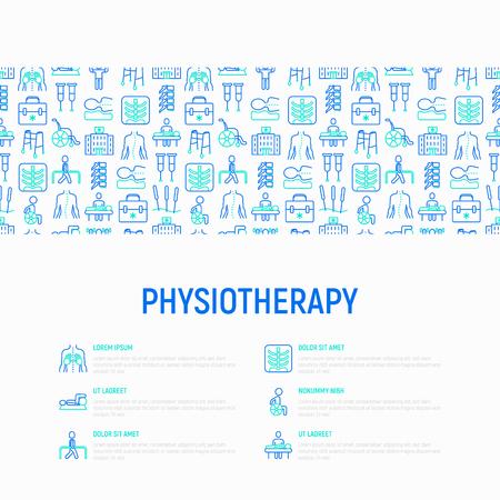 Concetto di fisioterapia con icone di linea sottile: riabilitazione, fisioterapista, agopuntura, massaggio, ginnastica, go-kart, vertebre; raggi X, traumi, stampelle. Illustrazione vettoriale, modello di pagina web. Vettoriali