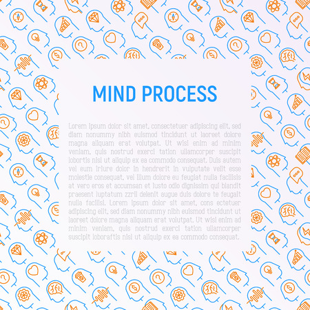 Mind process concept with thin line icons set: intelligence,  passion, conflict, innovation, time management, exploration, education, logical thinking. Modern vector illustration for web page. Illustration