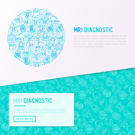 MRI diagnostics concept in circle with thin line icons. Modern vector illustration of laboratory equipment for web page template, print media, banner.