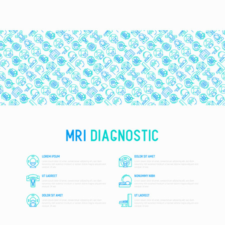 MRI diagnostics concept with thin line icons. Modern vector illustration of laboratory equipment for web page template, print media, banner. Çizim