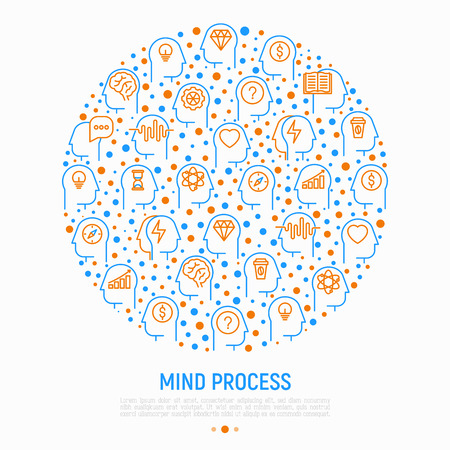 Mind process concept in circle with thin line icons: intelligence, passion, conflict, innovation, time management, exploration, education, logical thinking. Vector illustration.
