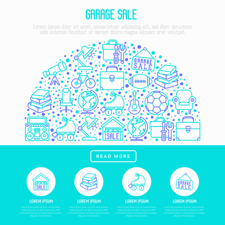 Garage sale concept in half circle with thin line icons: signboard, globe, telescope,guitar, rollers, armchair, toolbox, soccer ball. Modern vector illustration for banner, print media, web page.
