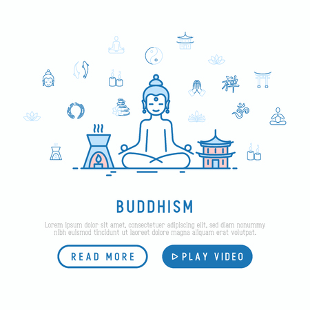 Buddhism concept with thin line icons: yoga, meditation, Buddha, Yin-Yang, candles, Aum letter, aromatherapy, pagoda, temple. Modern vector illustration, web page template.