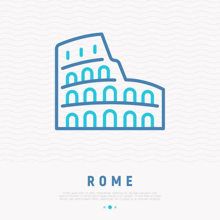 Coliseum thin line icon. Modern vector illustration of Rome landmark. Illustration