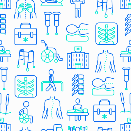 Physiotherapy seamless pattern with thin line icons: rehabilitation, physiotherapist, acupuncture, massage, go-carts, vertebrae; x-ray, trauma, crutches, wheelchair. Vector illustration. Иллюстрация