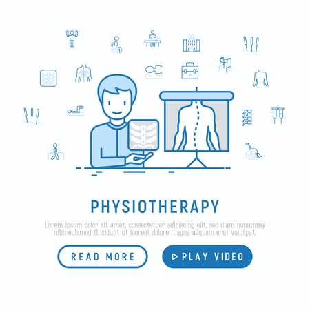 Physiotherapy concept with thin line icons: physiotherapist looking at x-ray result to prescribe a treatment. Vector illustration, web page template.