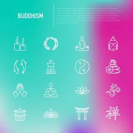 Buddhism thin line icons set: yoga, meditation, Buddha, Yin-Yang, candles, Aum letterm aromatherapy, pagoda, temple. Modern vector illustration.