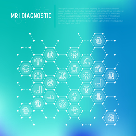 MRI diagnostics concept in honeycombs with thin line icons. Modern vector illustration of laboratory equipment for web page template, print media, banner.