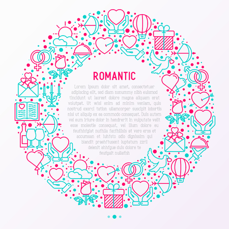 Romantic concept in circle with thin line icons, related to dating, honeymoon, Valentines day. Modern vector illustration, web page template about Valentines day.