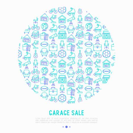細い線のアイコンと円でガレージ販売コンセプト:看板、地球儀、望遠鏡、ギター、ローラー、アームチェア、ツールボックス、サッカーボール。現代のベクトルイラスト、ウェブページテンプレート。