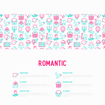 Romantic concept with thin line icons, related to dating, honeymoon, Valentine's day. Modern vector illustration, web page template.