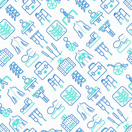 Fizjoterapia wzór z cienką linią ikon: rehabilitacja, fizjoterapeuta, akupunktura, masaż, gokarty, kręgi; prześwietlenie, uraz, kule, wózek inwalidzki. Ilustracja wektorowa. Ilustracje wektorowe