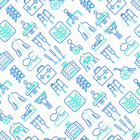 Physiotherapy seamless pattern with thin line icons: rehabilitation, physiotherapist, acupuncture, massage, go-carts, vertebrae; x-ray, trauma, crutches, wheelchair. Vector illustration. Vettoriali