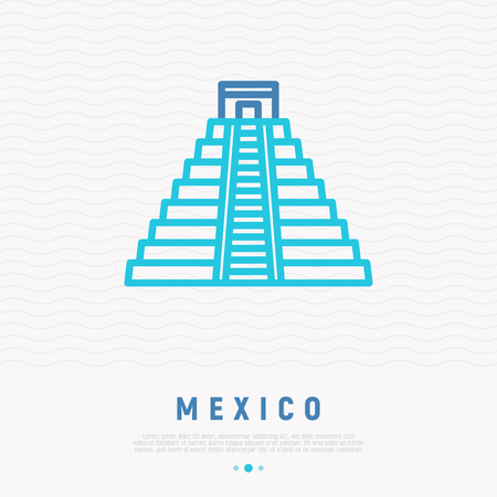 Mayan pyramid thin line icon. Modern vector illustration of Mexico landmark.