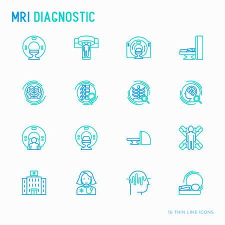 MRI diagnostics thin line icons set. Modern vector illustration of laboratory equipment. Ilustración de vector