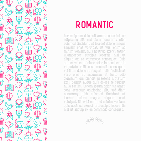 Concepto romántico con iconos de líneas finas, relacionados con citas, luna de miel, día de San Valentín. Ilustración de vector moderno, plantilla de página web.