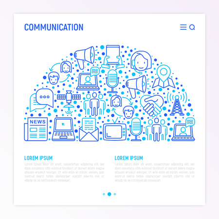 Communication concept in half circle with thin line icons: e-mail, newspaper, letter, chat, tv, support, video call, microphone. Modern vector illustration, web page template. 矢量图像