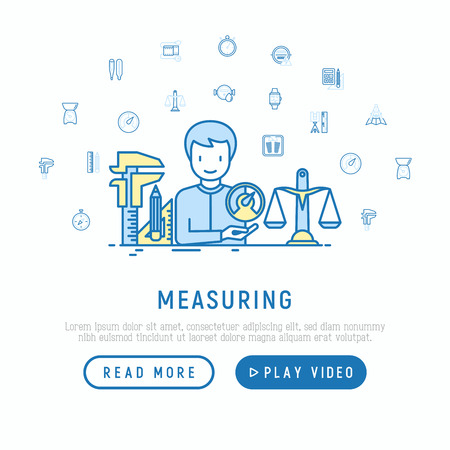 Measuring concept with thin line icons: stopwatch, weight scales, speedometer, smart watch, brass scales, thermometer. Modern vector illustration, web page template.