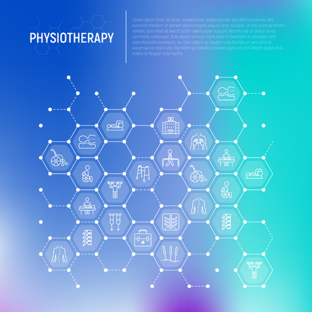 Physiotherapy concept in honeycombs with thin line icons: rehabilitation, physiotherapist, acupuncture, massage, go-carts, vertebrae; x-ray, trauma. Vector illustration, web page template.