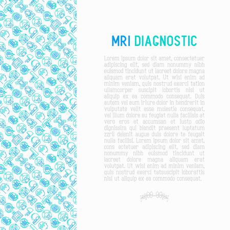 MRI diagnostics concept with thin line icons. Modern vector illustration of laboratory equipment for web page template, print media, banner. Ilustracja