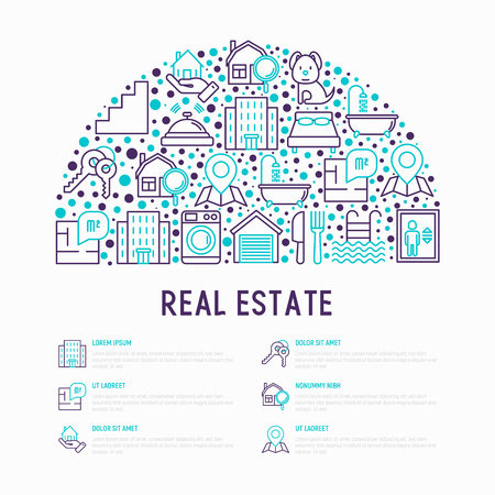 Rea estate concept in half circle with thin line icons: apartment house, bedroom, keys, elevator, swimming pool, bathroom, facilities. Modern vector illustration for web page, print media.  イラスト・ベクター素材