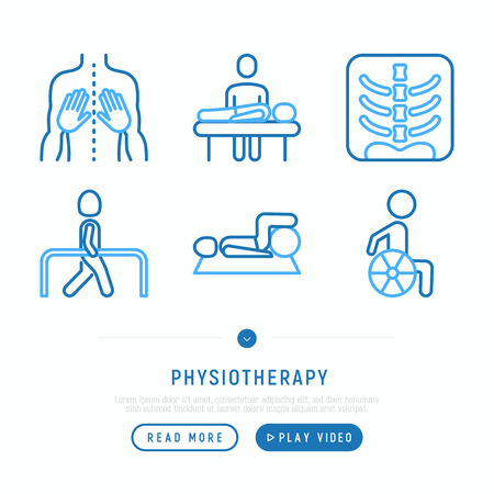 Physiotherapy thin line icons set: rehabilitation, physiotherapist, verterbra, massage, go-carts; wheelchair, trauma. Vector illustration, web page template.
