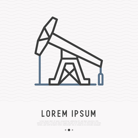 Oil pump thin line icon. Modern vector illustration of exploration and oil production.