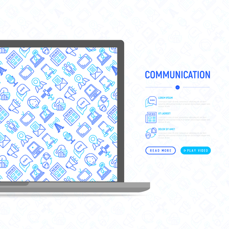 Communication concept with thin line icons: e-mail, newspaper, letter, chat, tv, support, video call, microphone. Modern vector illustration for banner, print media, web page. Ilustração