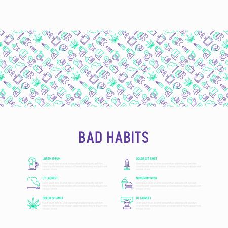 Concepto de malos hábitos con conjunto de iconos de líneas finas: abuso, alcoholismo, cigarrillos, marihuana, drogas, comida rápida, póquer, promiscuidad, tv, videojuegos. Ilustración vectorial moderna para banner, medios impresos.