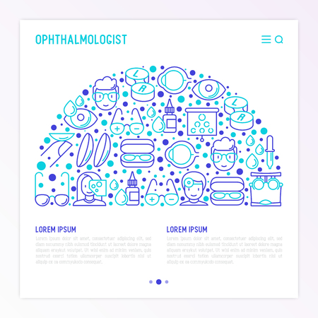 Ophthalmologist concept in half circle with thin line icons: glasses, eyeball, vision exam, lenses, eyedropper, spectacle case. Modern vector illustration for banner, print media, web page. Illustration