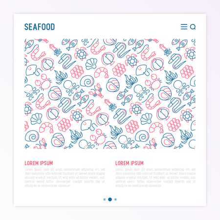 Zeevruchtenconcept met dunne lijnpictogrammen: kreeft, vis, garnalen, octopus, oester, paling, zeewier, krab, oprit, schildpad. Moderne vectorillustratie voor restaurantmenu.