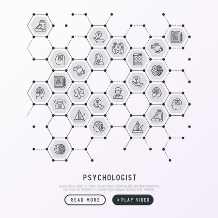 Psychologist concept in honeycombs with thin line icons: psychiatrist, disease history, armchair, pendulum, antidepressants, psychological support. Vector illustration for banner, web page.