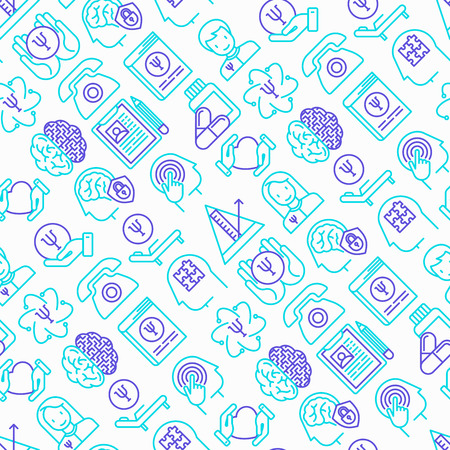 Psychologist seamless pattern with thin line icons: psychiatrist, disease history, armchair, pendulum, antidepressants, psychological support. Vector illustration. Illustration